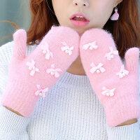韩版蝴蝶装饰加厚保暖针织毛线全指包套百搭女士手套女可爱手套