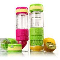 普润 柠檬杯玻璃水杯子便携创意情侣茶杯透明随手杯 绿色