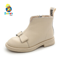 【2.5折价:121.5】芭芭鸭儿童靴子马丁靴冬季新款2019加绒女童鞋时尚公主鞋皮靴棉靴