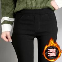 打底裤女外穿加绒厚冬季2018新款黑色裤紧身弹力保暖裤子女