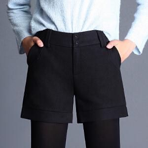 新品显瘦毛呢子短裤中腰休闲靴裤外穿打底冬天女裤子加厚女