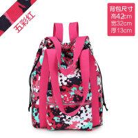 双肩包女2018新款韩版百搭大容量帆布包书包旅游旅行包包女士背包 五彩红 当天发