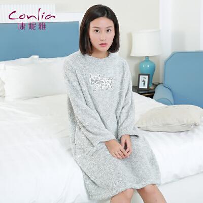 康妮雅家居服睡裙 女士秋冬中厚珊瑚绒长袖卡通甜美睡裙先领卷后购物 满399减50