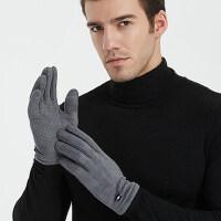 保暖麂皮绒男士触屏手套司机开车户外运动骑车女款加绒防滑手套