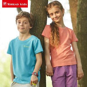 探路者童装 2017夏季新款儿童速干衣 女童户外短袖T恤