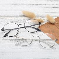 眼镜框女圆框近视眼镜男金色近视眼睛金丝复古眼镜镜框有度数