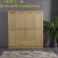 松木实木衣柜两门三门卧室原木衣柜小户型推拉门组装衣柜 4门 组装