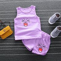 夏季男宝宝婴幼儿小童衣服纯棉背心裤两件套装女童卡通1234岁开裆