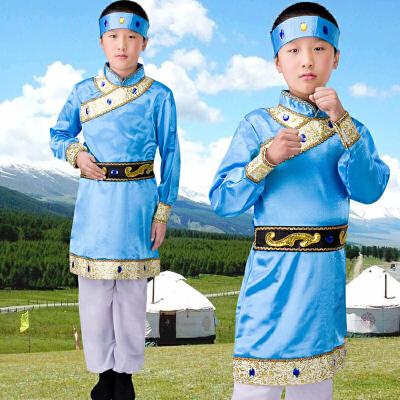 新款少儿少数民族演出服儿童表演服装蒙古族藏族舞蹈男童表演服饰 天蓝色 发货周期:一般在付款后2-90天左右发货,具体发货时间请以与客服协商的时间为准