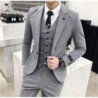 西装男套装绅士三件套修身韩版英伦发型师小西服新郎结婚礼服一套