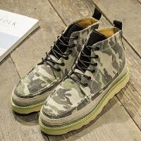 新款英伦复古男鞋高帮鞋迷彩马丁靴男靴韩版潮流休闲鞋板鞋皮鞋
