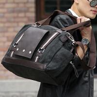 新款时尚帆布包 手提包男包旅行包 单肩包休闲复古斜挎包大男士包袋
