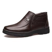 冬天男士棉鞋保暖高帮鞋子加绒中年老人男皮鞋休闲防滑棉皮鞋特大码