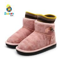 【2.5折价:79.75】芭芭鸭儿童雪地棉靴男童加绒保暖2019冬季新款宝宝鞋短靴女童靴子