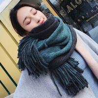 围巾女冬季时尚韩版学生双面百搭两用加厚保暖披肩长款毛线针织围脖男