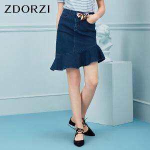 卓多姿ZDORZ牛仔半身裙新品2018夏不规则荷叶边裙摆736E538