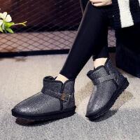 加绒加厚学生短靴防水雪地棉鞋子女靴子雪地靴女短筒