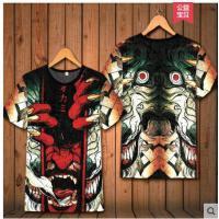 日系复古民族风图案鲤鱼3D印花夏男装修身短袖浮世绘T恤大码纹身