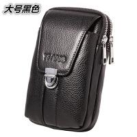 皮6寸腰包竖款穿皮带大屏手机包男士烟钱包裤带腰带挂包牛皮包
