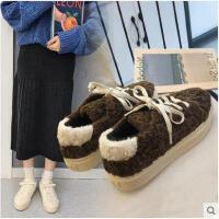 新款冬季韩版百搭网红毛毛鞋女平底休闲加绒保暖学生面包棉鞋