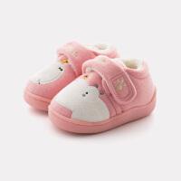 棉拖鞋男室内鞋包跟防滑小孩拖鞋女1-3岁冬季宝宝棉鞋家居鞋
