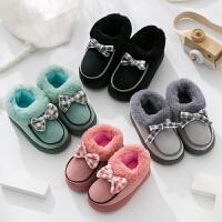儿童棉拖鞋冬季居家韩版可爱防滑男女童冬天保暖小孩宝宝包跟厚底