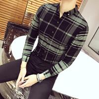 秋季长袖衬衫男士格子休闲寸衣韩版修身潮流衬衣青年弹力寸衫工装