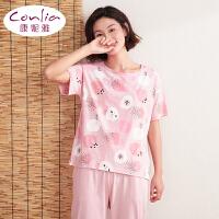 【专柜同款】康妮雅家居服女士夏季甜美短袖可爱卡通睡衣套装薄款