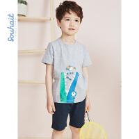【3件3折:65.7元】souhait水孩儿童装儿童夏季儿童套装男童套装运动套装SHNXBX09CA527