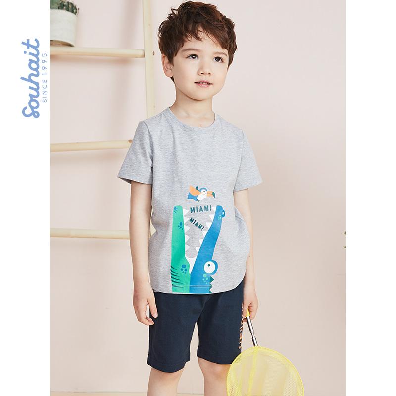 【3折价:65.7元】souhait水孩儿童装儿童夏季儿童套装男童套装运动套装SHNXBX09CA527 夏季儿童套装男童套装运动套装