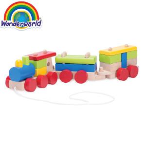 [当当自营]泰国Wonderworld 货运小火车 拖拉学步 几何积木拼插 启蒙早教 木质拆装玩具
