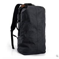 双肩包帆布包户外运动大容量背包运动休闲水桶包电脑包男士旅行包 黑色 (黑灰色)