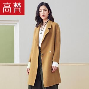 【1件3折 到手价:429元】高梵韩版时尚中长款羊毛毛呢外套女秋冬新品修身双面呢大衣