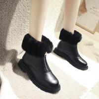 女鞋韩版单靴平底裸靴切尔西马丁靴子潮加绒小短靴女