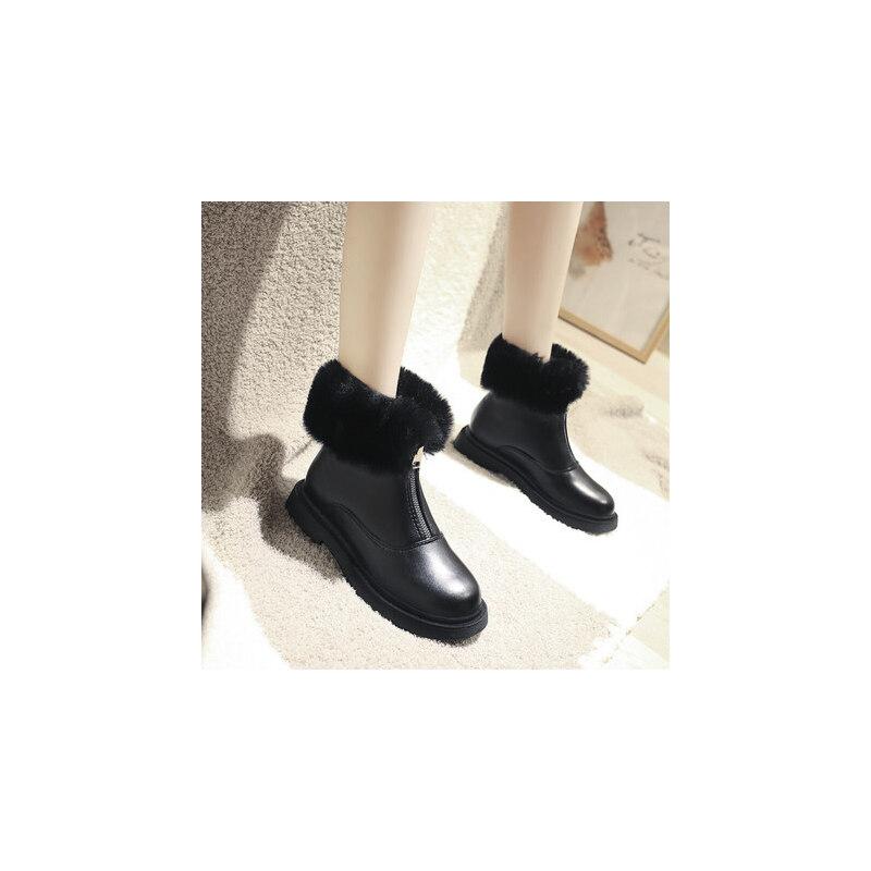 女鞋韩版单靴平底裸靴切尔西马丁靴子潮加绒小短靴女 品质保证 售后无忧