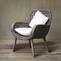 法式乡村/地中海 室内户外两用/庭院家具 带坐垫藤椅/实木沙发椅