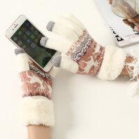 冬季护手套 秋冬季针织小鹿毛线触屏保暖手套加厚毛绒分指学生女冬天可爱韩版 均码