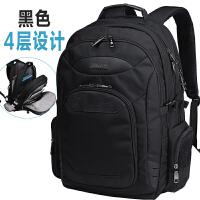 新款多层大容量商务出差防盗袋双肩包男士旅行包旅游15.6电脑背包 黑色 送密码锁