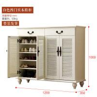 实木鞋柜简约现代白色欧式门厅柜大容量柜百叶门收纳玄关柜 整装
