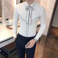 秋季帅气男士长袖衬衫韩版夜店修身衬衣发型师百搭休闲白色寸衣潮