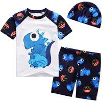 儿童泳衣男童分体短袖平角泳装套装
