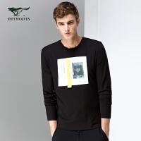 七匹狼长袖T恤 2017新品 男士圆领摩登时尚潮流T恤 男装6081585