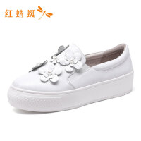 红蜻蜓女鞋春季新款女鞋时尚珍珠花朵装饰低跟舒适一脚蹬女休闲鞋