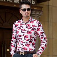 春秋冬新品中年男士长袖花衬衫时尚都市加肥加大潮男眼镜帅哥衬衣