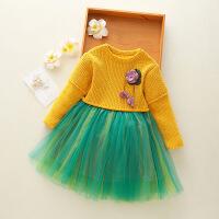 公主秋冬装绿色洋气女宝宝针织连衣裙黄色女童毛衣裙蛋糕裙
