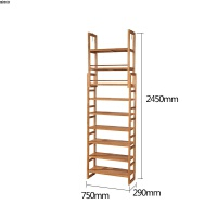 实木书架置物架可伸缩升降落地创意多层储物架现代简约顶天花板 750mm宽书架【原木深色 赤杨】