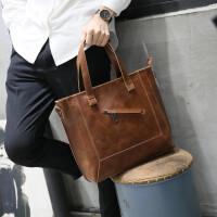 皮男包单肩包男斜挎包男休闲商务韩版男士包包手提包斜跨潮 咖啡色 全场满2件送手包