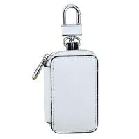 一个拉链袋真皮汽车钥匙包透明窗遥控器收纳小皮包牛二层皮挂腰扣