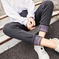 加绒牛仔裤女生韩版高腰显瘦紧身裤秋冬季新款百搭学生长裤子