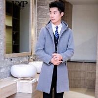 花花公子贵宾 新品男士毛呢大衣韩版修身中长款连帽风衣西装领夹克外套